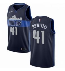Mens Nike Dallas Mavericks 41 Dirk Nowitzki Swingman Navy Blue NBA Jersey Statement Edition