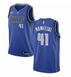 Mens Nike Dallas Mavericks 41 Dirk Nowitzki Swingman Royal Blue Road NBA Jersey Icon Edition