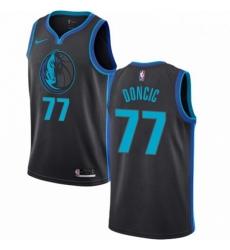 Mens Nike Dallas Mavericks 77 Luka Doncic Swingman Charcoal NBA Jersey City Edition