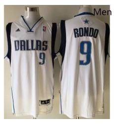 Revolution 30 Mavericks 9 Rajon Rondo White Stitched NBA Jersey