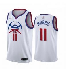 Men Denver Nuggets 11 Monte Morris White NBA Swingman 2020 21 Earned Edition Jersey