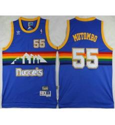 Men Denver Nuggets 55 Dikembe Mutombo Blue Rainbow Hardwood Classics Soul Swingman Throwback Jersey