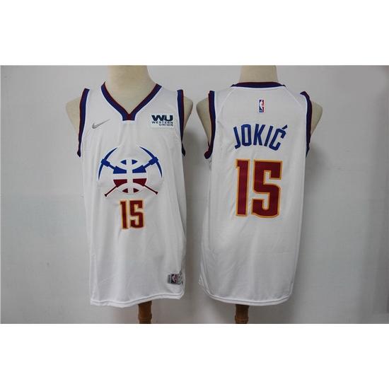 Men Denver Nuggets Nikola Jokic 15 NBA New White Swingman Nike Jersey