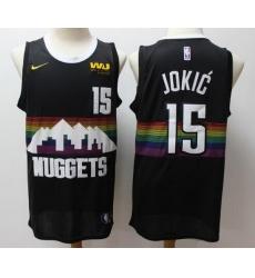 Men Nuggets 15 Nikola Jokic Black City Edition Jersey