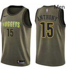 Mens Nike Denver Nuggets 15 Carmelo Anthony Swingman Green Salute to Service NBA Jersey