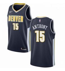 Mens Nike Denver Nuggets 15 Carmelo Anthony Swingman Navy Blue Road NBA Jersey Icon Edition