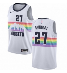 Mens Nike Denver Nuggets 27 Jamal Murray Swingman White NBA Jersey City Edition