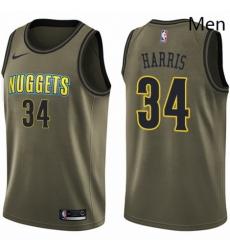 Mens Nike Denver Nuggets 34 Devin Harris Swingman Green Salute to Service NBA Jersey