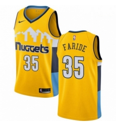 Mens Nike Denver Nuggets 35 Kenneth Faried Swingman Gold Alternate NBA Jersey Statement Edition