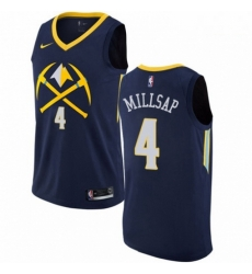 Mens Nike Denver Nuggets 4 Paul Millsap Authentic Navy Blue NBA Jersey City Edition