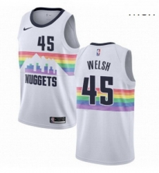 Mens Nike Denver Nuggets 45 Thomas Welsh Swingman White NBA Jersey City Edition