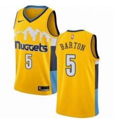 Mens Nike Denver Nuggets 5 Will Barton Swingman Gold Alternate NBA Jersey Statement Edition