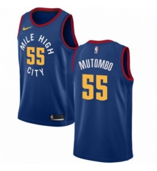 Mens Nike Denver Nuggets 55 Dikembe Mutombo Authentic Light Blue Alternate NBA Jersey Statement Edition