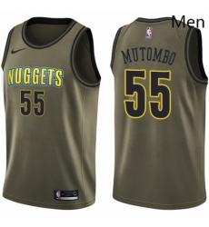 Mens Nike Denver Nuggets 55 Dikembe Mutombo Swingman Green Salute to Service NBA Jersey