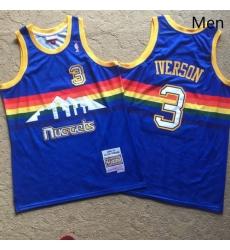 Nuggets 3 Allen Iverson Blue 2006 07 Hardwood Classics Swingman Jersey