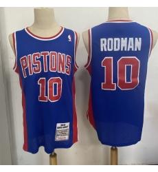 Men Detroit Pistons 10 Dennis Rodman Blue 1988 89 Hardwood Clas