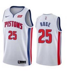 Men Detroit Pistons Nike Road Derick Rose 25 Swingman White Jersey