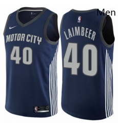 Mens Nike Detroit Pistons 40 Bill Laimbeer Authentic Navy Blue NBA Jersey City Edition