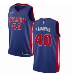 Mens Nike Detroit Pistons 40 Bill Laimbeer Swingman Royal Blue Road NBA Jersey Icon Edition
