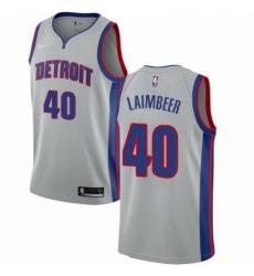 Mens Nike Detroit Pistons 40 Bill Laimbeer Swingman Silver NBA Jersey Statement Edition