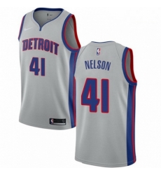 Mens Nike Detroit Pistons 41 Jameer Nelson Authentic Silver NBA Jersey Statement Edit
