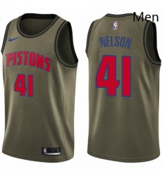 Mens Nike Detroit Pistons 41 Jameer Nelson Swingman Green Salute to Service NBA Jersey