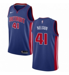 Mens Nike Detroit Pistons 41 Jameer Nelson Swingman Royal Blue NBA Jersey Icon Edition