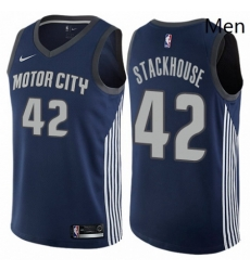 Mens Nike Detroit Pistons 42 Jerry Stackhouse Authentic Navy Blue NBA Jersey City Edition