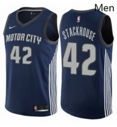 Mens Nike Detroit Pistons 42 Jerry Stackhouse Swingman Navy Blue NBA Jersey City Edition
