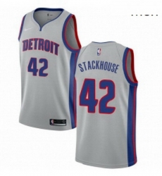 Mens Nike Detroit Pistons 42 Jerry Stackhouse Swingman Silver NBA Jersey Statement Edition