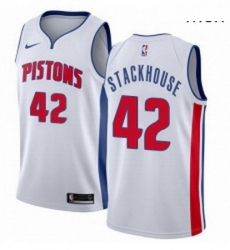 Mens Nike Detroit Pistons 42 Jerry Stackhouse Swingman White Home NBA Jersey Association Edition