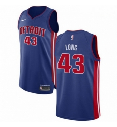 Mens Nike Detroit Pistons 43 Grant Long Authentic Royal Blue Road NBA Jersey Icon Edition