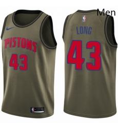 Mens Nike Detroit Pistons 43 Grant Long Swingman Green Salute to Service NBA Jersey