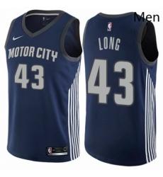 Mens Nike Detroit Pistons 43 Grant Long Swingman Navy Blue NBA Jersey City Edition