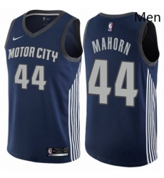Mens Nike Detroit Pistons 44 Rick Mahorn Authentic Navy Blue NBA Jersey City Edition