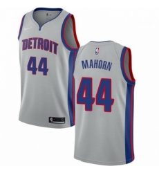 Mens Nike Detroit Pistons 44 Rick Mahorn Authentic Silver NBA Jersey Statement Edition