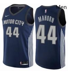 Mens Nike Detroit Pistons 44 Rick Mahorn Swingman Navy Blue NBA Jersey City Edition