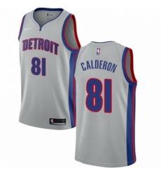 Mens Nike Detroit Pistons 81 Jose Calderon Swingman Silver NBA Jersey Statement Edition