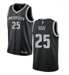 Pistons  25 Derrick Rose Black Basketball Swingman City Edition 2018 19 Jersey