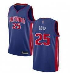Pistons  25 Derrick Rose Blue Basketball Swingman Icon Edition Jersey