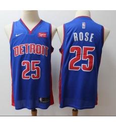Pistons 25 Derrick Rose Blue City Edition Nike Swingman Jersey