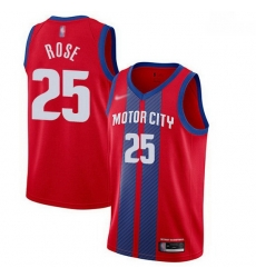 Pistons  25 Derrick Rose Red Basketball Swingman City Edition 2019 20 Jersey