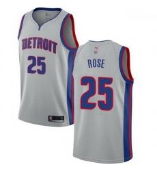 Pistons  25 Derrick Rose Silver Basketball Swingman Statement Edition Jersey