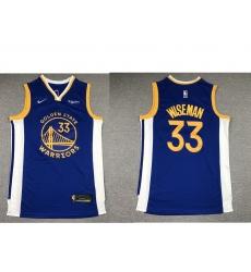 Men Golden State Warriors 33 James Wiseman Blue 2019 Nike Swingman NEW Rakuten Logo Stitched NBA Jersey