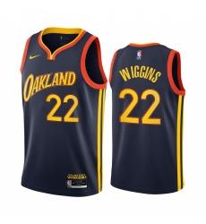 Men Nike Golden State Warriors 22 Andrew Wiggins Navy NBA Swingman 2020 21 City Edition Jersey