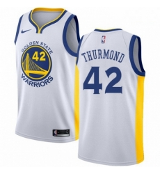 Mens Nike Golden State Warriors 42 Nate Thurmond Authentic White Home NBA Jersey Association Edition