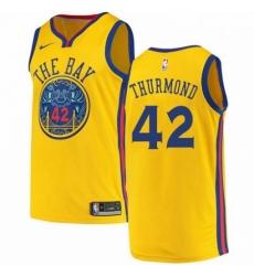 Mens Nike Golden State Warriors 42 Nate Thurmond Swingman Gold NBA Jersey City Edition