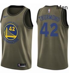 Mens Nike Golden State Warriors 42 Nate Thurmond Swingman Green Salute to Service NBA Jersey