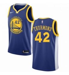 Mens Nike Golden State Warriors 42 Nate Thurmond Swingman Royal Blue Road NBA Jersey Icon Edition