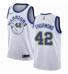 Mens Nike Golden State Warriors 42 Nate Thurmond Swingman White Hardwood Classics NBA Jersey